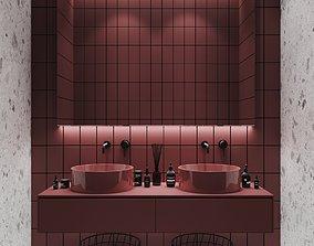3D model Bathroom set red