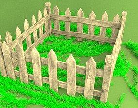 Wooden-fence 3D asset