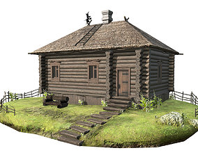 wooden house with thatched roof 3D model