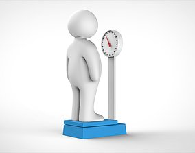 fat man and weight scale 3D model