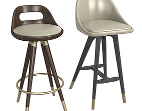 2 custom made bar chairs 3D
