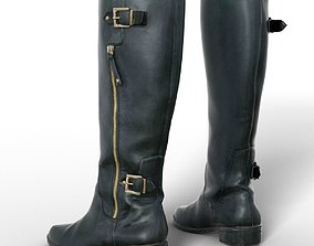 3D model Boot Tall Black Leather Women Clothing Footwear