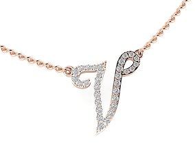 3D printable model V letter diamond pendant