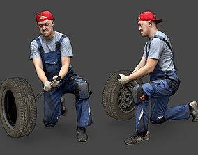 tire 3D model Stylized Car Mechanic Character