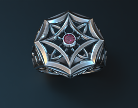 Stylish mens ring with vintage patterns 3D printable model
