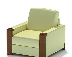 3D model Cream And Brown Armchair