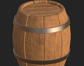 3D model Cartoon wooden barrel 2