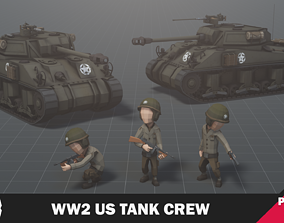 3D model WW2 US Tank Crew