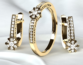 Golden Ring plus Earrings with Diamonds 3D print model