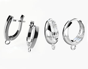 Hoop earrings findings for adding 3D print model 1