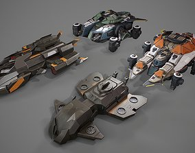 Asset of space ships 3D model realtime