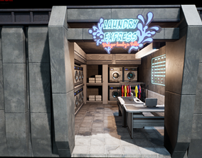 Cyberpunk Laundry Room Props Interior Game-Ready 3D asset