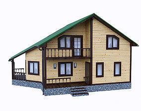 simply wooden house 3 3D model