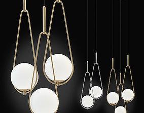 3D model Kare Pendant Lamp Loop chrom and gold