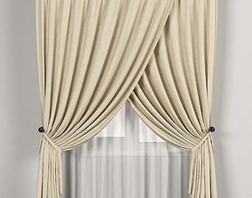 Beige curtains with white tulle 3D