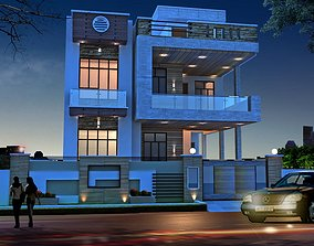Modern House exterior night view 3D