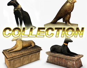 3D model Egyptian statues collection