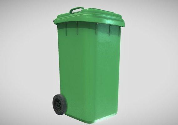 Green Plastic Waste Bin 240 Liters 1075x515x582
