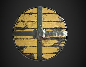 3D asset low-poly Viking historical yellow shield