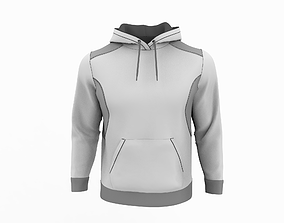 3D Mens hoodie with pocket and hood down Marvelous