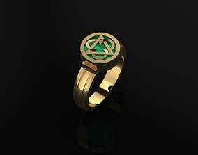 3D printable model Mens Ring with Emerald