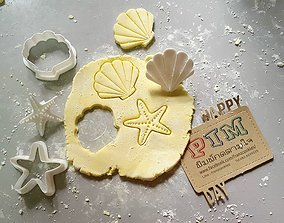 Scallop and Starfish cookie cutter with 3D print model