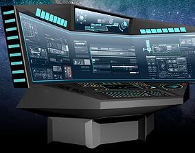 Sci fi Space Ship Corner Terminal Computer - 3D model