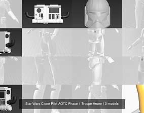 3D Star Wars Clone Pilot AOTC Phase 1 Troope Aromr