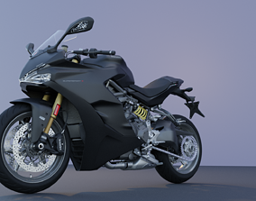 Motorcycle low poly 3d model rigged