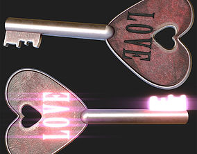 Love Key Symbol - PBR Game-Ready 3D model