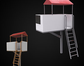 Raceways Wooden shed with stairs 3d PBR model game-ready