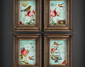 3D asset low-poly framed Picture Frames