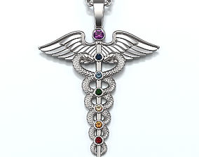 Caduceus Pendant with gemstones 01 3D print model