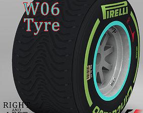 3D asset W06 Intermediate rear tyre