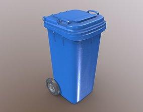 Plastic Waste Bin Blue 120 Liters 936x550x482 3D model