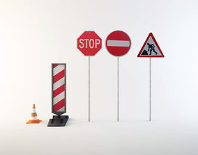 3D Road work signs