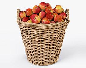Wicker Basket 08 with Apples 3D model