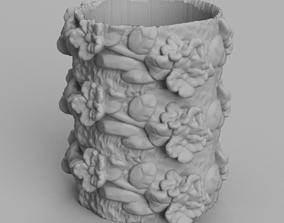 pot de fleur decor floral 3D print model