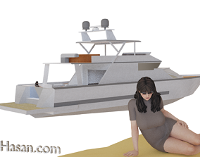 game-ready Yacht 3D model