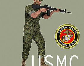 USMC soldier combat utility uniform with M16A3 rifle 3D