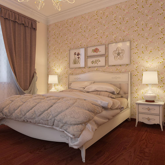 Interior of sleeping room in a  cottage, a suburb of Moscow.