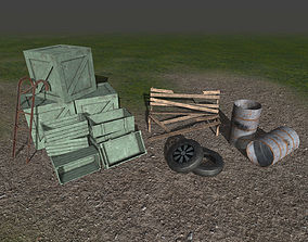 3D model Trashed props collection - crates-barrels-tyres 3