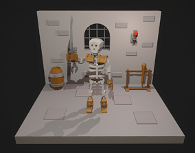 3D asset Low Poly Skeleton