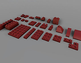 Construction Bricks Blocks 3D asset
