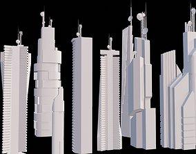 9 low poly SCIFI futuristic SKYSCRAPERS PACK 3D model