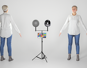 3D asset Adult woman in A-pose ready for rigging