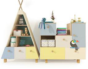 3D model Bookcase sideboard furniture Kvikk