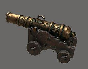 cannon Ancient naval gun artillery Bronze cannon 3D asset