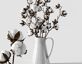 Cotton in a jug flower 3D
