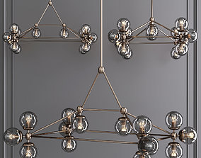 3D model Modo Rectangle Chandelier 14 Globes Bronze and 1